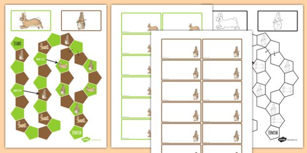 Beatrix Potter - The Story of a Fierce Bad Rabbit Themed Editable Board Game - beatrix potter, fierce, bad, rabbit