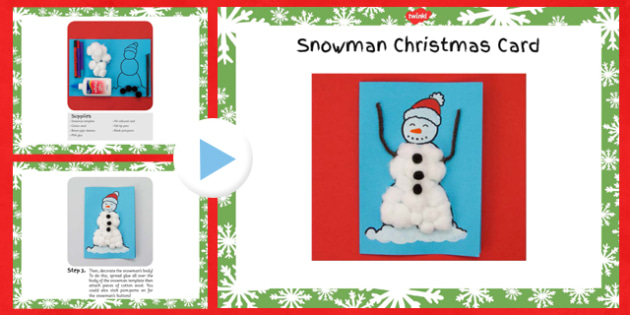 Snowman Christmas Card Craft Instructions PowerPoint - christmas, snowman