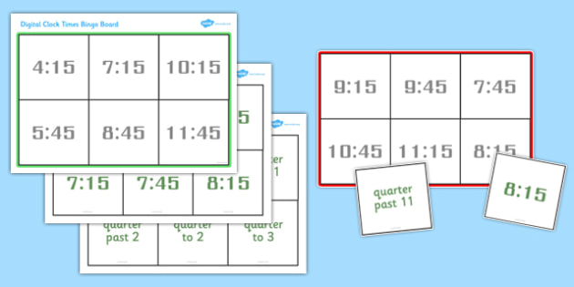 Digital Clock Time Bingo - Time bingo, digital, bingo, time game, Time resource, Time vocaulary, clock face, Oclock, half past, quarter past, quarter to, shapes spaces measures