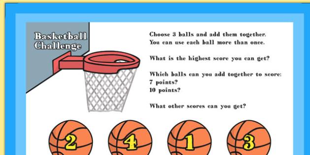 A4 KS1 Basketball Maths Challenge Poster - maths, challenge, ks1