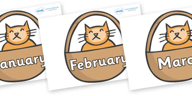 Months of the Year on Hamish in Basket to Support Teaching on The Lighthouse Keeper's Lunch - Months of the Year, Months poster, Months display, display, poster, frieze, Months, month, January, February, March, April, May, June, July, August, Septemb