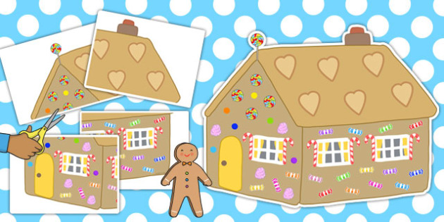 Large A2 Gingerbread House Cut-out - gingerbread, house, cut out, display