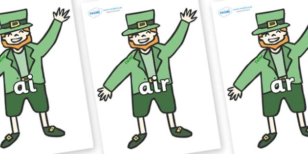 Phase 3 Phonemes on Leprechauns - Phonemes, phoneme, Phase 3, Phase three, Foundation, Literacy, Letters and Sounds, DfES, display