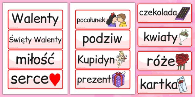 Karty ze slownictwem na Walentynki na polsku- materialy, szkola , Polish