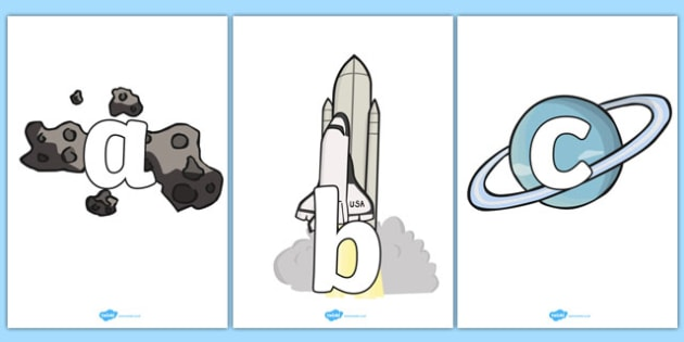 A-Z Alphabet on Space Images -  A4, display, Alphabet frieze, Display letters, Letter posters, A-Z letters, Alphabet flashcards, space, ship, rocket, alien, launch, moon, stars, planet, planets