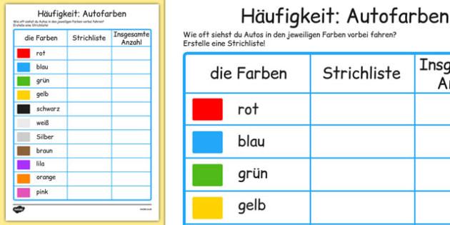 Häufigkeit: Autofarben Car Colour Survey German - german, traffic, car colour, colour, cars, survey, how many cars, red, black, green, white