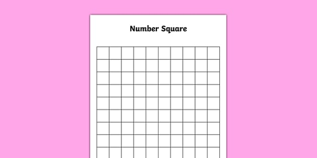 Blank 10 by 10 Number Square - blank, 10 by 10, number square, numbers, editable