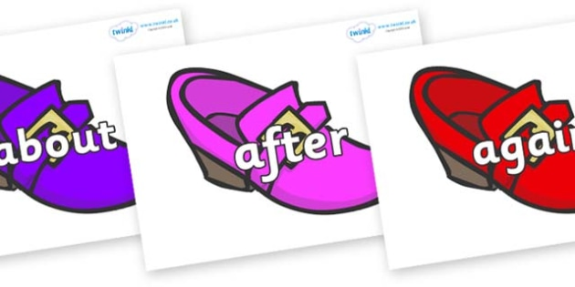 KS1 Keywords on Shoes - KS1, CLL, Communication language and literacy, Display, Key words, high frequency words, foundation stage literacy, DfES Letters and Sounds, Letters and Sounds, spelling