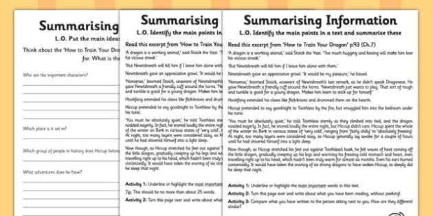 How to Train Your Dragon Summarising Practice Activity Sheet, worksheet