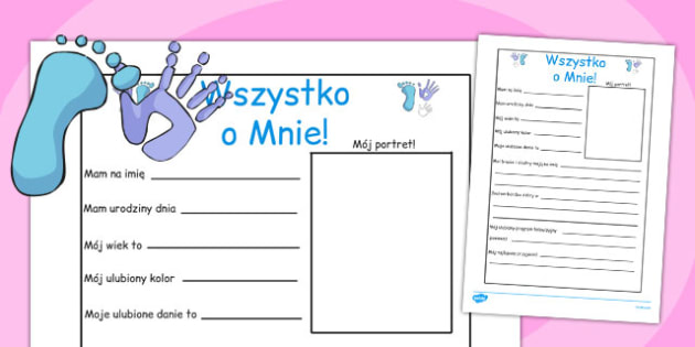 New Teacher All About Me Writing Frame Polish - polish, all about me