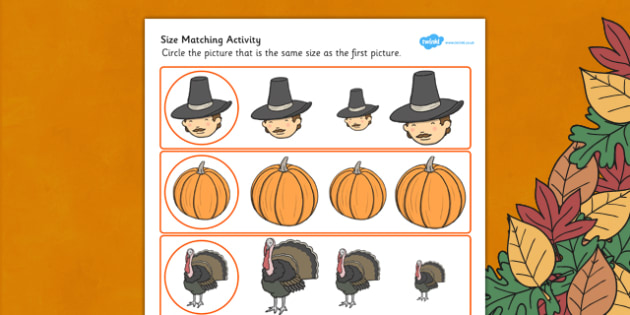 Thanksgiving Size Matching Worksheet - Thanksgiving, Size, Match