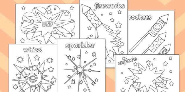 Fireworks / Bonfire Night Colouring Sheets - education, free, fun