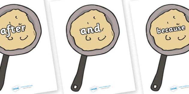 Connectives on Pancakes - Connectives, VCOP, connective resources, connectives display words, connective displays
