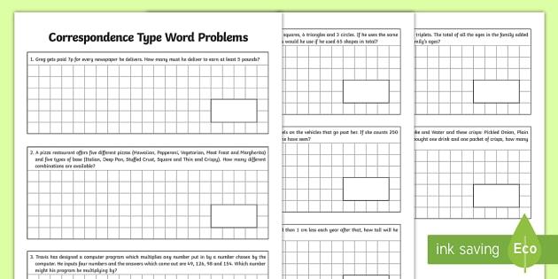 Correspondence Type Word Problems - beginning algebra, relationships