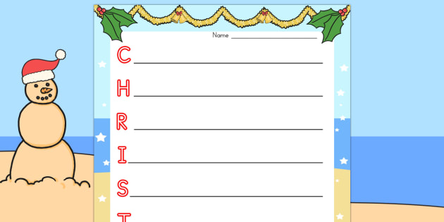 Christmas Acrostic Poem - australia, christmas, acrostic, poem