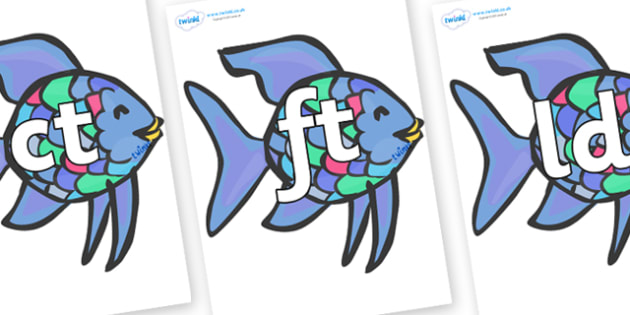 Final Letter Blends on Rainbow Fish to Support Teaching on The Rainbow Fish - Final Letters, final letter, letter blend, letter blends, consonant, consonants, digraph, trigraph, literacy, alphabet, letters, foundation stage literacy