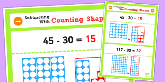 Year 2 Subtracting 2 Digit Numbers and Tens Using Counting Shapes