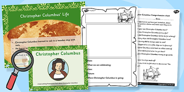 Christopher Columbus Powerpoint Task Setter and Activity Pack