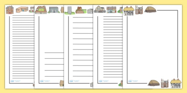 Houses and Homes Page Borders - house, home building,, Page border, border, writing Borders, brick, stone, detached, terraced, bathroom, kitchen, door, caravan, where we live, ourselves