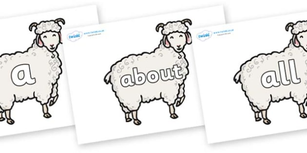 100 High Frequency Words on Small Billy Goats - High frequency words, hfw, DfES Letters and Sounds, Letters and Sounds, display words