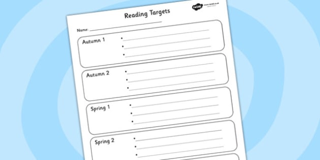 Reading Half Termly Individual Targets-reading, reading targets, targets, individual targets, half term, half term targets, reading goals, literacy