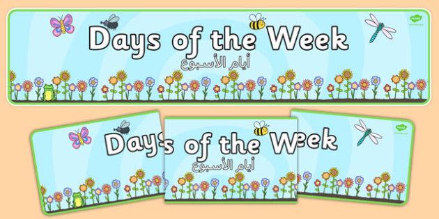 Days of the Week Display Banner Flower Background Arabic Translation - arabic, days, week, display banner