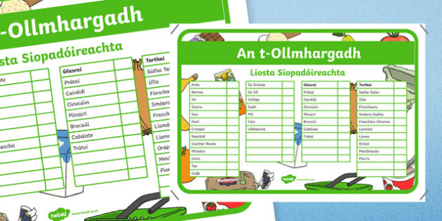 An t-Ollmhargadh The Supermarket Role Play Shopping Checklist Irish Gaeilge Activity Sheet-Irish, worksheet