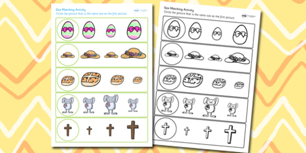 Easter Size Matching Worksheets - easter, size matching, religion