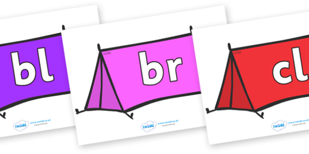 Initial Letter Blends on Tents - Initial Letters, initial letter, letter blend, letter blends, consonant, consonants, digraph, trigraph, literacy, alphabet, letters, foundation stage literacy