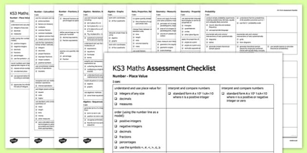 KS3 Maths Assessment Checklist - ks3, maths, assessment, checklist