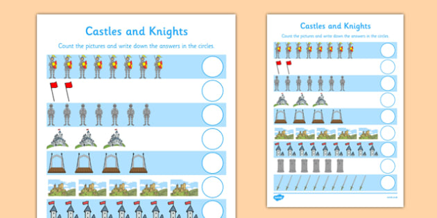 My Counting Activity Sheet (Castles and Knights) - Counting worksheet, Castles and Knights, counting, activity, how many, foundation numeracy, counting on, counting back, Castles and Knights, maiden, castle, tower, dragon, sword, horse, flag, shield,