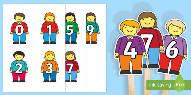 Numbers 1 to 10 Stick Puppets - EYFS, Early Years, Maths, Numeracy, counting, numbers to 10, odd and even.