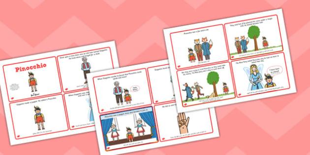 تسلسل قصة بينوكيو (أربعة في صفحة A4) إنجليزي عربي