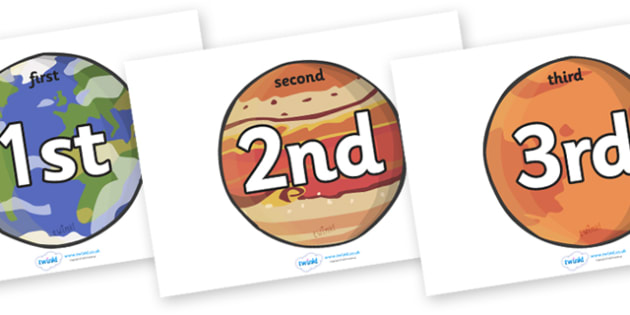Ordinal Number Posters (Planets) - Display posters, counting, 1st, 2nd, 3rd, first, second, third, foundation stage numeracy, ordinal, numeracy, planets