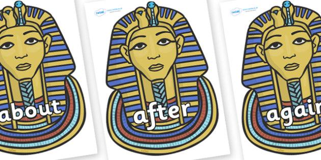 KS1 Keywords on Tutankhamun - KS1, CLL, Communication language and literacy, Display, Key words, high frequency words, foundation stage literacy, DfES Letters and Sounds, Letters and Sounds, spelling