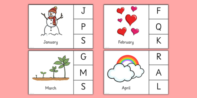 Months of the Year Peg Matching Game - EYFS, Early Years, months, year, calendar