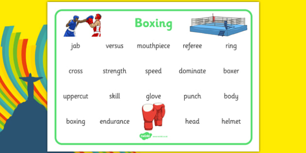 The Olympics Boxing Word Mat - the olympics, rio olympics, 2016 olympics, rio 2016, boxing, word mat