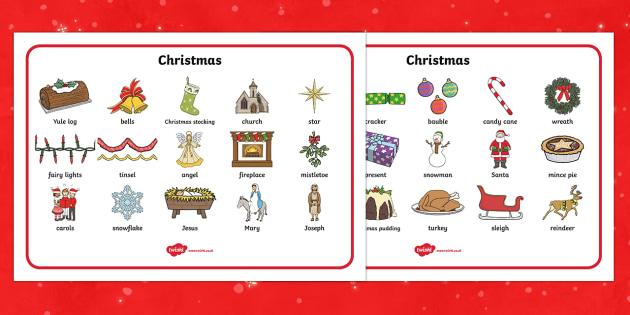 Christmas Word Mat - Christmas, xmas, word mat, writing aid, tree, advent, nativity, santa, father christmas, Jesus, tree, stocking, present, activity, cracker, angel, snowman, advent , bauble