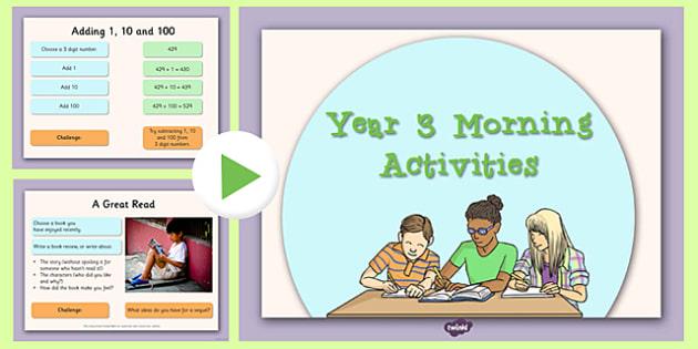 Year 3 Morning Activities - year 3, morning activities, supply teacher, supply, cover, morning, activities
