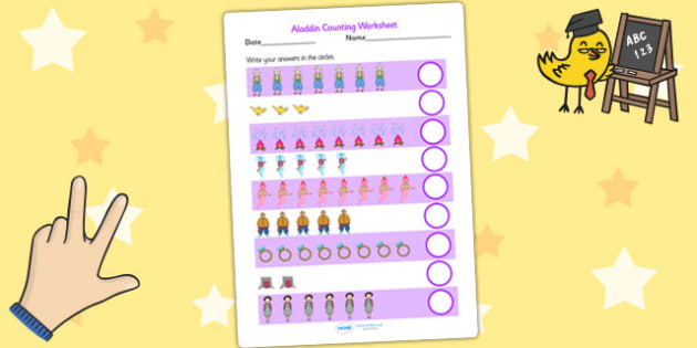 Aladdin Counting Worksheet - aladdin, counting, numeracy, story