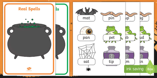 Halloween Themed Phase 2  Real and Nonsense Words Activity