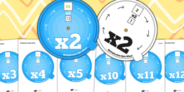 Multiplication Spin Wheel Pack 2 To 12 - times tables, multiply