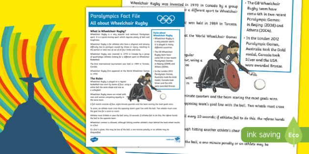All About Wheelchair Rugby Rio Paralympics 2016 Fact File