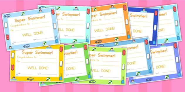 Swimming Certificates - swimming, certificates, awards, rewards