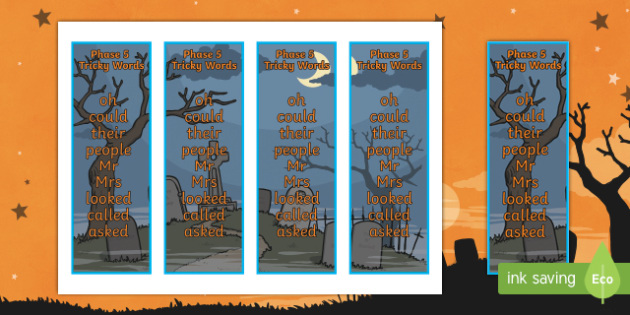 Halloween Themed Phase 5 Tricky Word Bookmarks