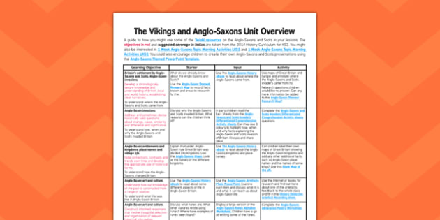 Anglo-Saxons and Scots Planning Overview - planning, overview
