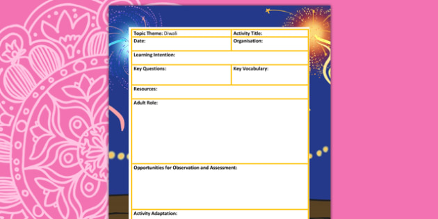 Diwali Themed Adult Led Focus Planning Template - festivals, plan