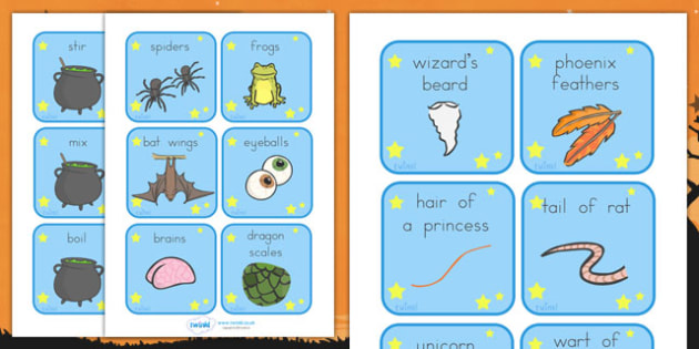 Halloween Magic Potion Prompt Cards - halloween, halloween cards, halloween magic words, halloween key words, halloween inspiration words, prompt, writing