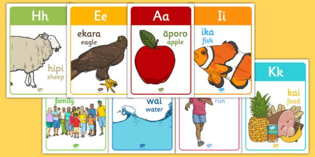 Māori Alphabet Display Posters - Māori alphabet, nz, new zealand, display posters, display, posters
