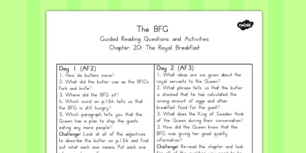 Guided Reading Questions Chapter 20 to Support Teaching on The BFG - australia, bfg, guided reading